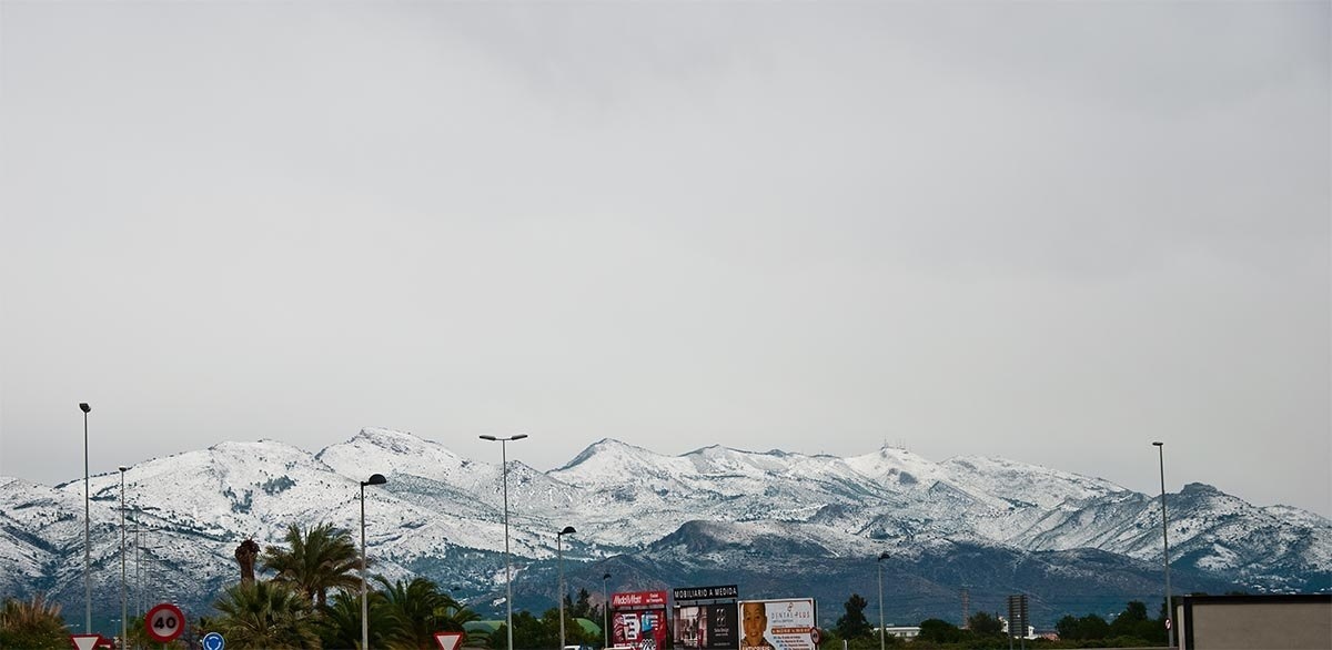 Imatge 1. La nevada del 8 de gener de 2010, corresponent al Desert de les Palmes, Benicàssim.