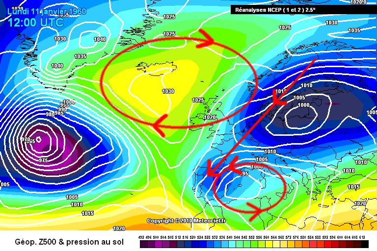 Imatge 2. La nevada del 11 de gener de 1960, on s'aprecia la configuració amb un anticicló a Islàndia i una baixa al Mediterrani.
