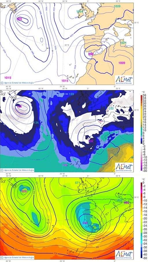 A la imatge tenim 3 quadrants, el 1,2 i 3 de dalt a baix. (1) Imatge per dijous en superfície. Vents de llevant a tota la costa Mediterrània. (2) Imatge per dijous a 850 hPa. Encara queda fred, la isoterma 0ºC és a sobre nostre, i el flux també és marítim, de llevant. (3) Imatge per dijous a 500 hPa, en altura. El flux es marítim, en aquest cas de SE, humit de totes formes.