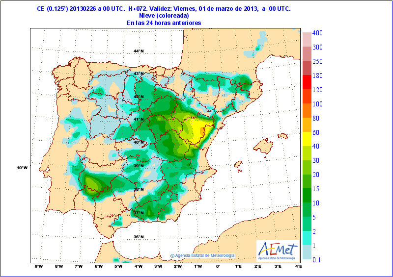 Nevades modelades per a les 24h anteriors a les 00h del divendres 1-3-2013. Com veiem, grossors importants per tot l'interior castellonenc, sobre tot, i resta de la península.