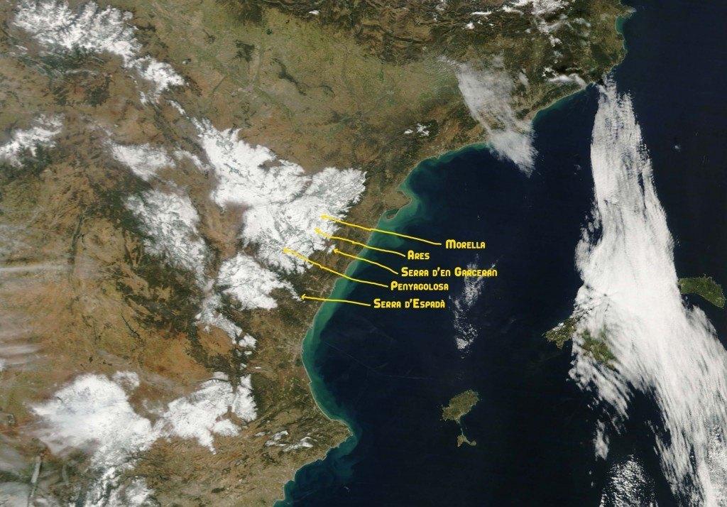 A la imatge del satèl·lit comprovem com l'interior castellonenc ha rebut molta neu, des de ben a baix. També Terol, Tarragona, València estan molt emblanquinades.