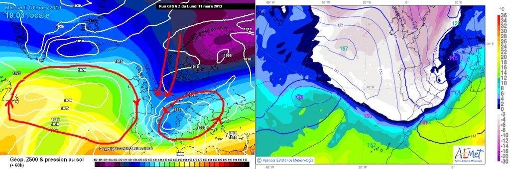 Al mapa de l'esquerra veiem com la situació de l'anticicló a l'oest peninsular junt a la borrasca mediterrània canalitzen el fred continental cap a la península. Al mapa de la dreta es representa la temperatura a 850 hPa per a dimecres a última hora, ja amb tota la península envaïda pel fred. Font: AEMET