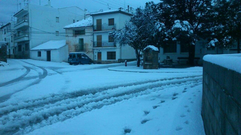 Zucaina, a l'Alt Millars, també ha rebut una bona nevada. Font: @carloscuevas31