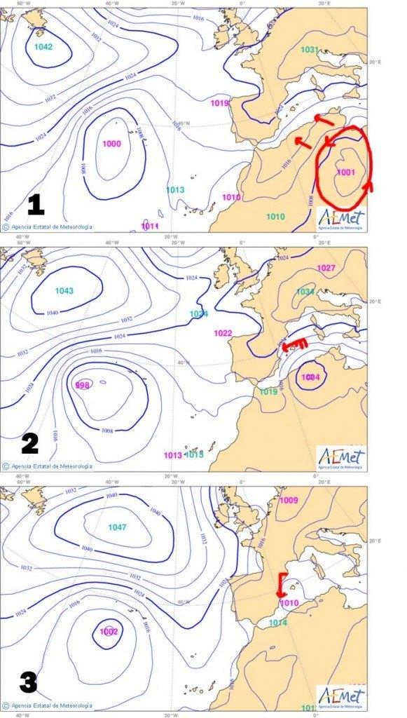 En aquest triple mapa comprovem el moviment de la borrasca retrògrada resonsable de les pluges de dijous i divendres. En el mapa 1 veiem la situació inicial de la borrasca, que s'aproxima. Al 2, dijous, ja  la tenim al damunt, enviant-nos vents una mica massa agregalats, fet que resta de manera notable quantitat de precipitació a la Plana. Al número 3, como sol ocòrrer, la borrasca s'en va cap al nord, afectant Catalunya, i de passada, enviant-nos de nou, i ara de N a S, un front que ens afectaria divendres.